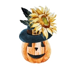 Watercolor halloween pumpkin vector image