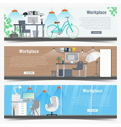 Web Banner set Office workplace interior design vector image