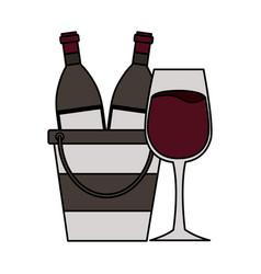 wine bottles cup ice bucket vector image