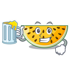with juice a piece of a yellow watermelon cartoon vector image