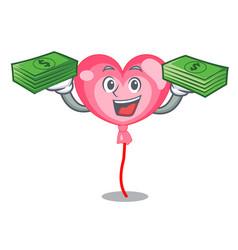 With money bag ballon heart mascot cartoon vector