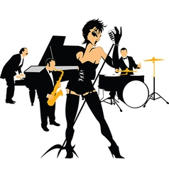 Woman singer in a band vector image