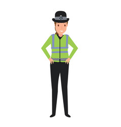 young police woman on duty vector image