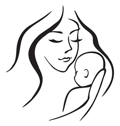 baby and mother outline vector image vector image