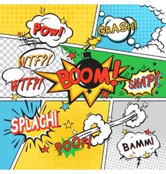 Comic set background vector image