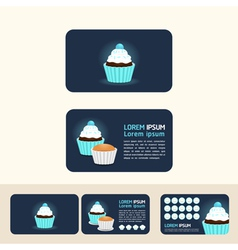 cupcake blue color concept business cards discount vector image
