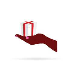 gift in hand color vector image vector image
