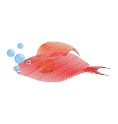 hand drawing red fish half aquatic environment vector image
