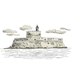rhodes fort vector image