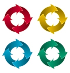 Ring of four arrows Colorful arrow circle vector image