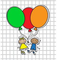 cartoon kids with balloons vector image vector image