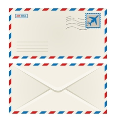 Front and back of an airmail envelope vector image
