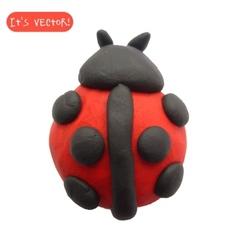 Icon of plasticine ladybug vector image