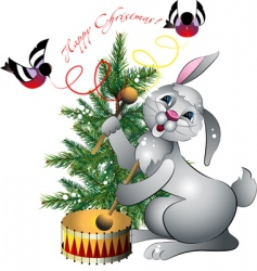 new years rabbit with drum vector image
