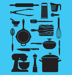 set of kitchen tools and utensils vector image vector image