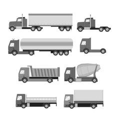 Set of trucks gray flat icons vector