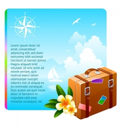 travel suitcase and tropical flowers vector image vector image