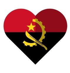 Angola flat heart flag vector image vector image
