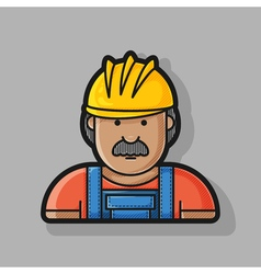 contour icon builder in helmet and overalls vector image vector image