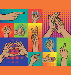 hand pointing finger pop art arm gestures retro vector image