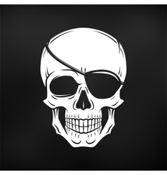 Human evil skull Jolly Roger with eyepatch vector image