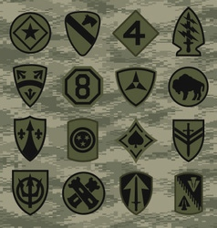 Military camouflage emblem patch set in green vector image vector image
