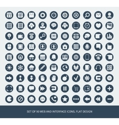 Set of 90 web and mobile icons vector image