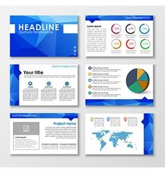 Templates polygonal slides for presentations vector image