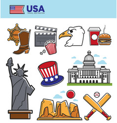 usa america travel landmarks symbols and american vector image vector image