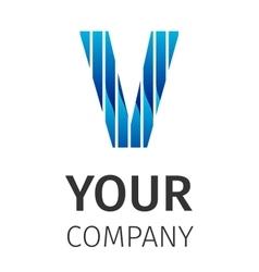 Abstract blue logo V vector image vector image