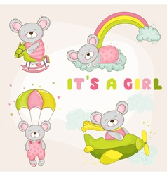 Baby Mouse Set - Baby Shower or Arrival Card vector image vector image