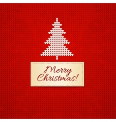 Christmas knitting background with christmas tree vector image