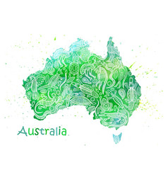 hand drawn watercolor map of australia with vector image