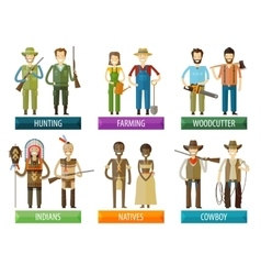 people logo design template farmer hunter vector image