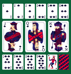 Poker playing cards spade suit set vector