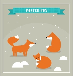 Set of cute little foxes in winter forest vector image