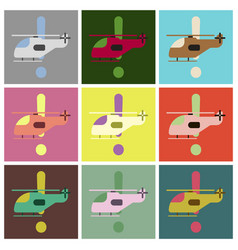 set of icons in flat design helicopter vector image vector image