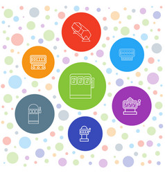 7 lottery icons vector