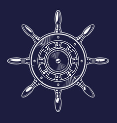 a ships wheel on the dark background vector image
