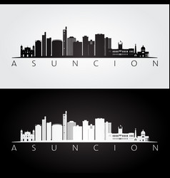 asuncion skyline and landmarks silhouette vector image