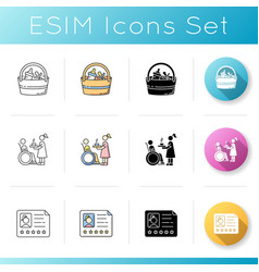 Babysitting services icons set bag with items vector