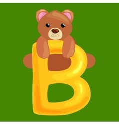 Bear letter with animal for kids abc education vector