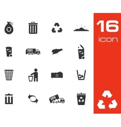 Black garbage icons set on white background vector