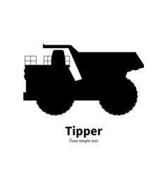 Black silhouette dump truck vector