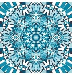 Blue circular kaleidoscope pattern vector