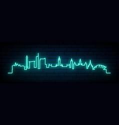 blue neon skyline glasgow city bright glasgow vector image