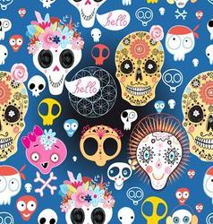 Bright festive pattern of funny skulls vector