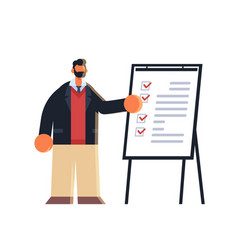 Businessman working with check list business man vector