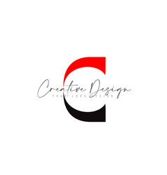 C letter icon design with black red colors and vector