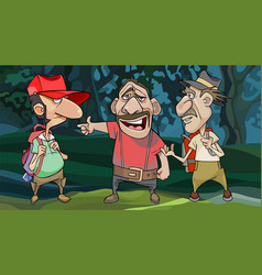 Cartoon male travelers ask a local for a road in vector